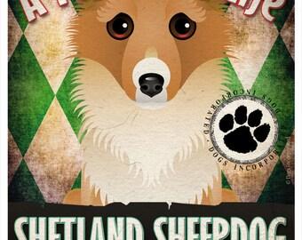 Shetland Sheepdog Pampered Pups Original Art Print - 11x14 - Dog Poster - Dogs Incorporated