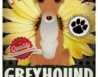 Dogs and Flowers Art Print - Greyhound Print 11 x 14