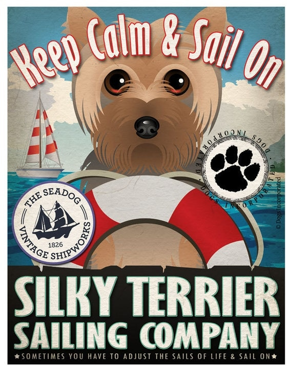 Silky Terrier Sailing Company Original Art Print - 11x14 - Customize with Your Dog's Name