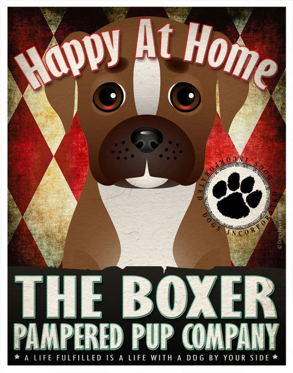Boxer Pampered Pups Original Art Print - 11x14 - Dog Poster - Dogs Incorporated