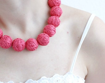 Coral chunky beads lace necklace thread cotton for women fiber natural christmas red
