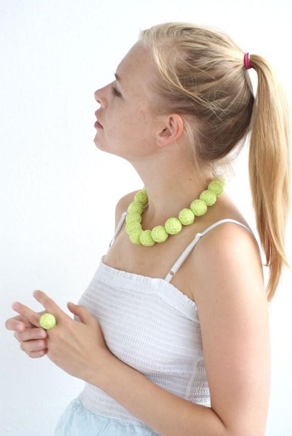Neon balls handmade beaded necklace thread cotton for women fiber natural geometric