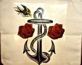 Custom anchor with roses and swallow tote bag