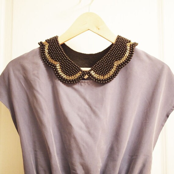 Black Vintage Look Peter Pan Beaded Collar Detachable