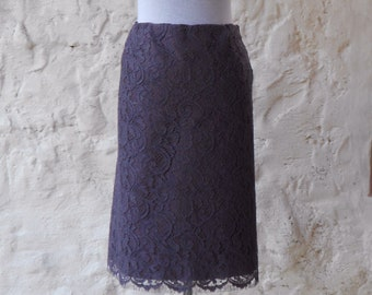 Deep purple/ plum / dark violet - french lace skirt with silk lining - as you would like it - custom order available