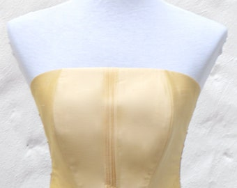 Yellow top, yellow silk top,  silk taffeta corset style top, with strings on both side, boned