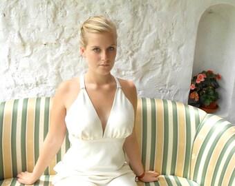 Ivory silk wedding dress, gala dress - customized order is available