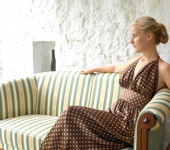 Chocolate brown and nut color - Pretty woman  dress - polka dot - silk evening gown