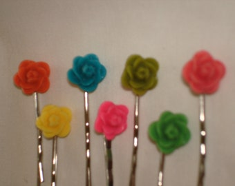 Set of Three Rose Bobby Pins