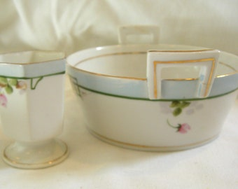 SALE  PRICE REDUCED Antique Rising Sun Toothpick Holder and Butter Bowl with Insert Hand Painted Set
