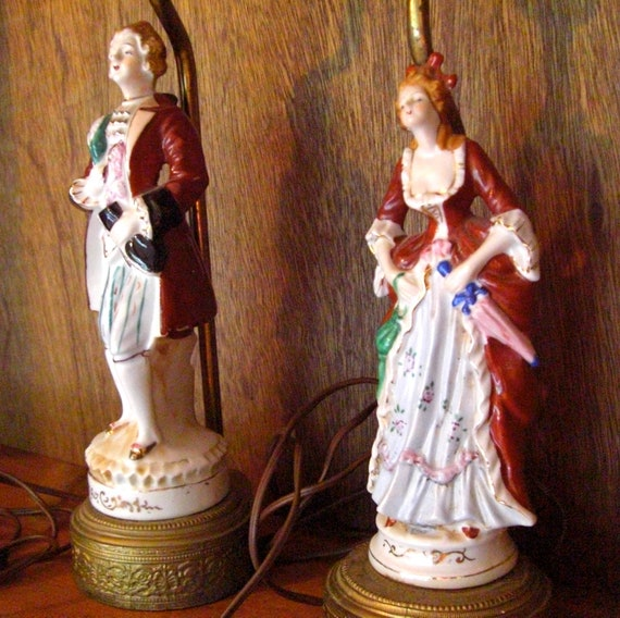 Pair of Occupied Japan Gentleman and Grand Lady Colonial Figure Lamps