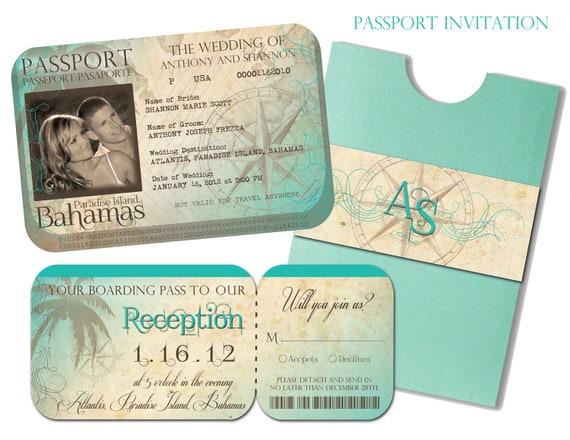 Beach Themed Wedding Invitations Templates: Passport Wedding Invitation And Boarding Pass Reception And