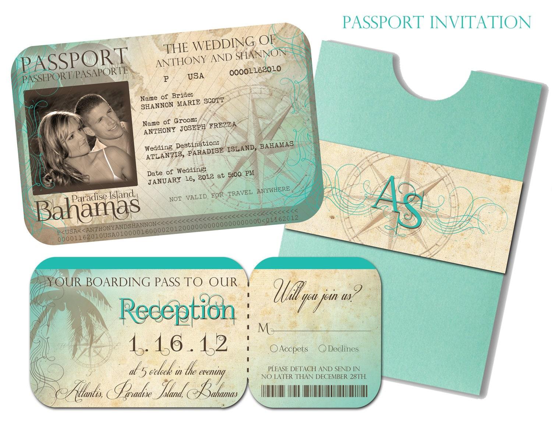 Destination Wedding Invitations Passport: Passport Wedding Invitation And Boarding Pass Reception And