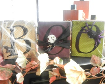 Boo Vinly Lettering for Blocks (Blocks not included) -Halloween Decor