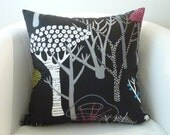 Decorative OOAK pillow 20x20 inches,cushion cover in a black background with a beautiful print.Reversible use.