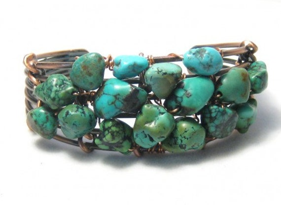 Turquoise Nugget Cuff Bracelet