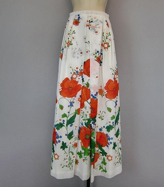 vintage 70s floral sheer maxi skirt garden by ckshoppervintage