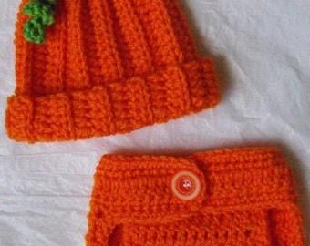 Newborn Crochet Pumpkin Hat and Diaper Cover Set