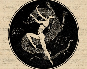 Girl Dancing with Zodiac Dragon Graphics Digital Collage Sheet Image Download Iron On Transfer Prints Fabric Pillows Towels Tote Bags a84