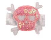 Mia Skull Hairclip - white with pink skull