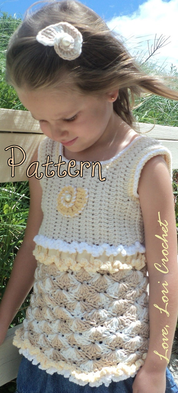 Pattern for Sandy Sea Shell, Little Girl's Beautiful Crochet Tank Top with Sea Shell Hair Accessory