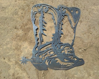Western Cowboy Boots Metal Decor