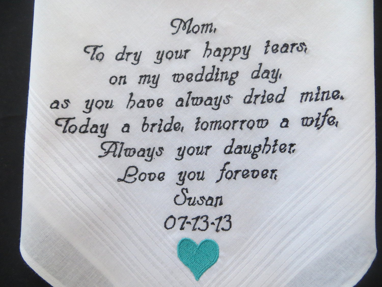 Wedding Gift Ideas For Mom: Free Gift Box Included. Personalized Wedding Handkerchief