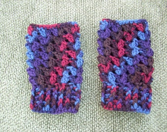 Crocheted  Fingerless Gloves Red / Blue / Brown / Purple Wool
