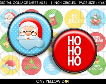 INSTANT DOWNLOAD - 1 Inch Circles Digital Collage Sheet - Cute Christmas Ornaments - Bottle Caps Scrapbooking Pendant Magnets Tags - 021
