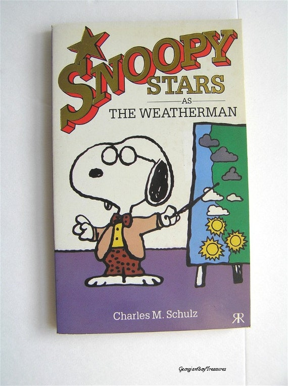 Vintage book, Snoopy Stars As The Weatherman, 15, Peanuts, Charlie Brown, child and adult, cartoon