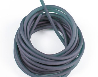 Rubber cord 4mm, solid, luminous dark gray, 9 feet