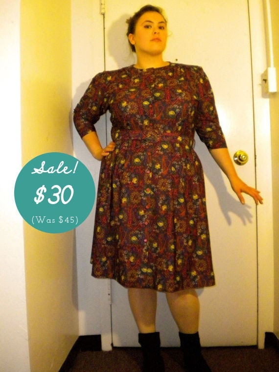CLEARANCE Plus Size Vintage Printed Midi Dress Size Size