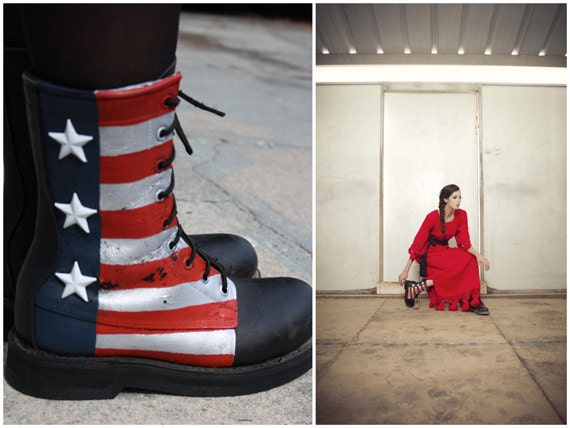Hand Painted American Flag Leather COMBAT boots/ BIG White star studs/ Size 7
