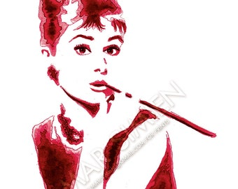 "Audrey Hepburn watercolor painting- red- Breakfast at Tiffany's- celebrity artwork- 8"" x 10"" art print- FREE SHIPPING"