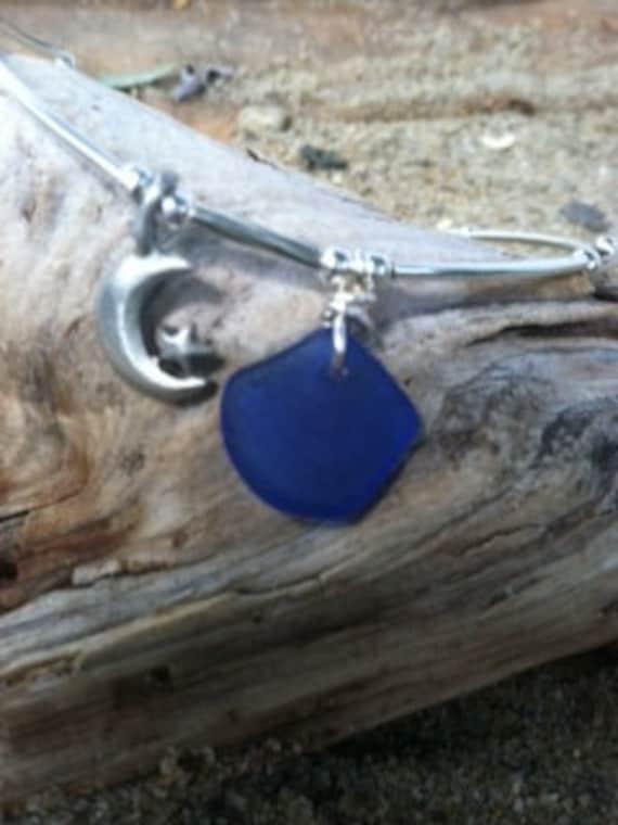 Royal Blue Sea Glass Anklet
