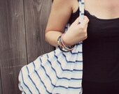 Eco shopping bag, city chic market bag, striped cotton bag in blue and white BUY 2 get 1 FREE