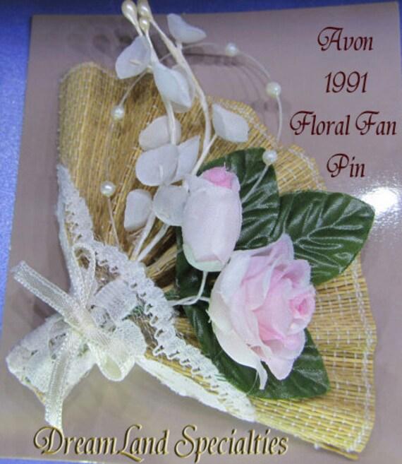 Vintage Jewelry Avon - 1991 Floral Fan Pin