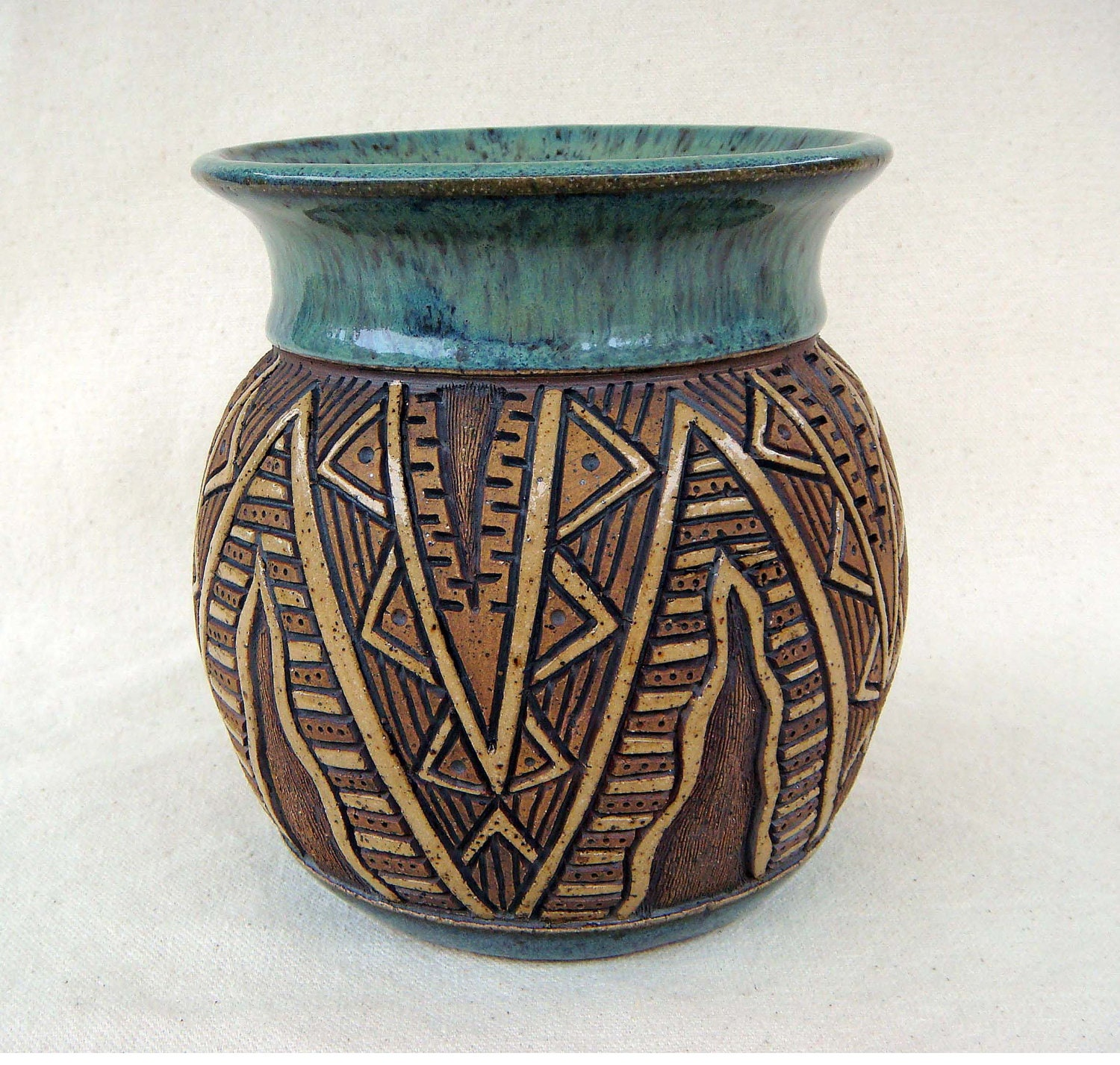 Reserved for bp pottery handmade and carved by kittingerclay