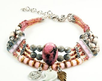 Statement choker necklace in pink and grey with rhodonite cabochon - brass and silver metal -  bohemian gypsy hippie OOAK jewelry handmade