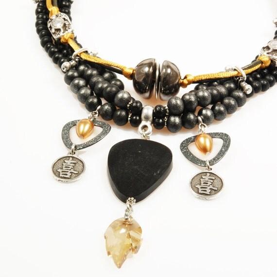 statement necklace black gold asian style jewelry swarovski