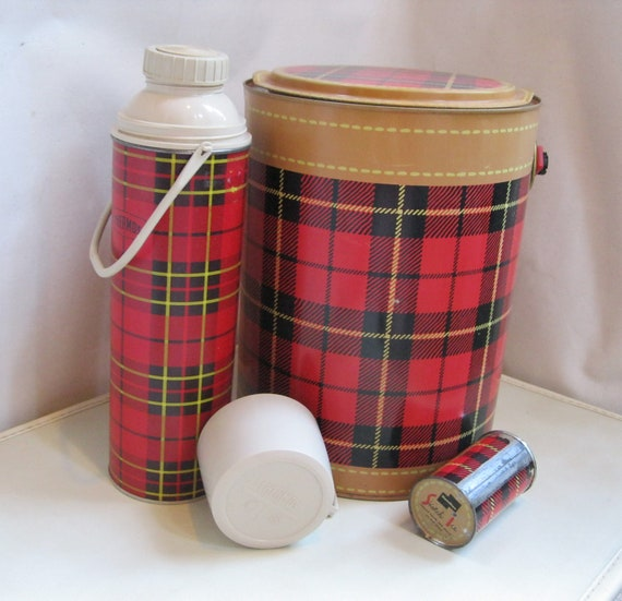 SALE: Ice Bucket and Freezer Pack Skotch Red Plaid Cooler by Hamilton Vintage
