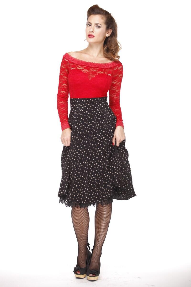pin up retro high waist skirt rockabilly skirt swing skirt