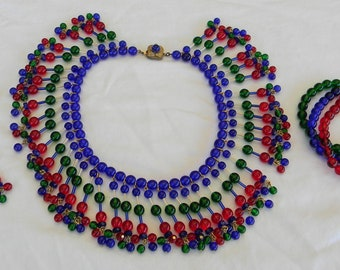 Vintage Miriam Haskell Larry Vrba Egyptian Style Poured Glass Bead Necklace Bracelet Earrings Parure