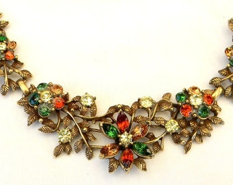 Vintage 1950s Autumn Fall Emerald Lt Smoky Topaz Hyacinth Jonquil Rhinestone Floral Link Necklace