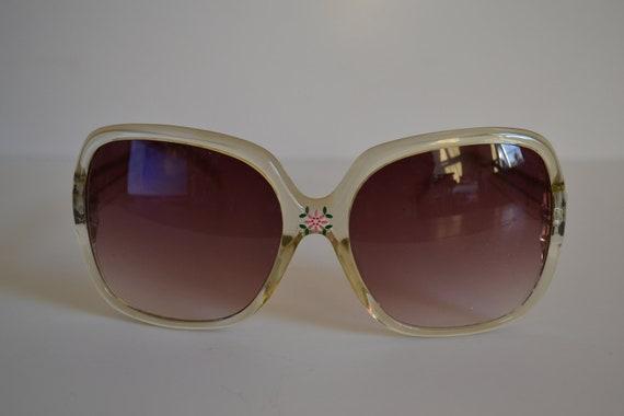 Vintage Translucent Champagne Oversized Handpainted Ladies Sunglasses