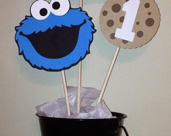 Cookie Monster 3pc centerpiece set