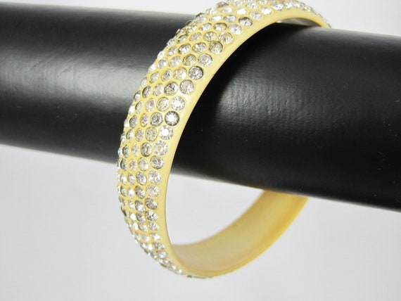 Vintage Cellulid Bangle with Rhinestones - 5 Rows - Study Piece