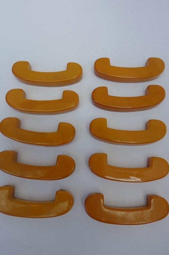 Bakelite Butterscotch  Drawer Pulls Drawer Handles Set of 10