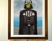 """Poster 11""""x17"""" - Print from my star wars painting of Darth Vader, Magritte inspired, surrealism."""