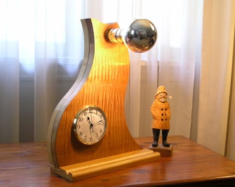Curly Maple Veneer Table Lamp and Clock - the idea station